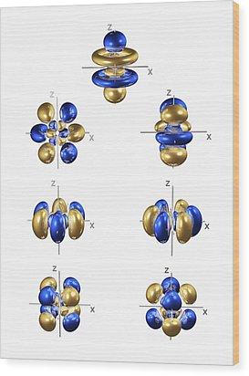 5f Electron Orbitals, General Set Wood Print by Dr Mark J. Winter