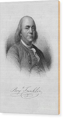 Benjamin Franklin, American Polymath Wood Print by Photo Researchers