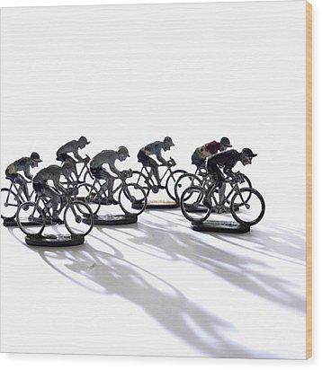 Cyclists Wood Print by Bernard Jaubert