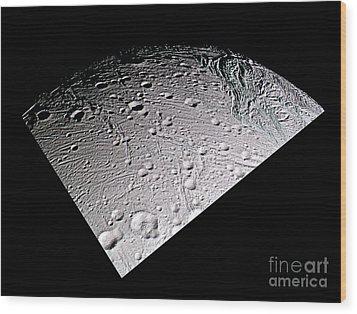 Enceladus Surface Wood Print by NASA / Science Source