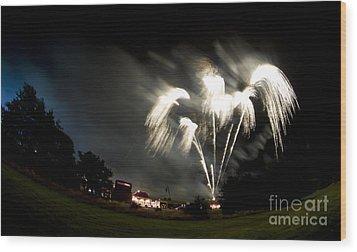 Fireworks Wood Print by Angel Ciesniarska