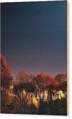 Night Sky Wood Print by Laurent Laveder