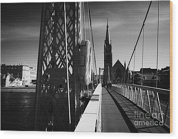 Pedestrian Suspension Footbridge The Greig Street Bridge Over The River Ness Inverness Highland Scot Wood Print by Joe Fox