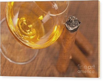 Whisky And Cigars Wood Print by Sabino Parente