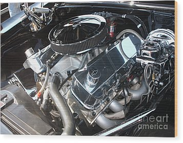 67 Black Camaro Ss 396 Engine-8033 Wood Print by Gary Gingrich Galleries