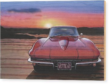 Wood Print featuring the painting '67 Corvette Sunset by Rod Seel