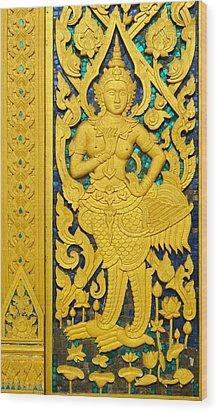 Antique Thai Temple Mural Patterns Wood Print by Kanoksak Detboon