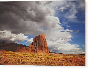 Capitol Reef National Park Catherdal Valley Wood Print by Mark Smith