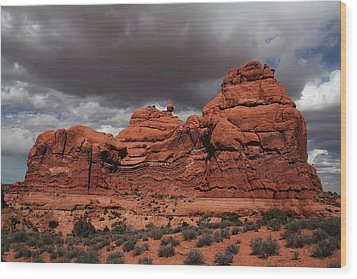 Desert Storm Wood Print by Southern Utah  Photography