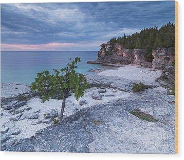 Georgian Bay Cliffs At Sunset Wood Print by Oleksiy Maksymenko