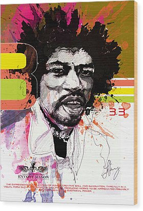 Jimi 333 Wood Print by Bobby LeVangie