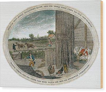 Poor Richard Illustrated Wood Print by Granger