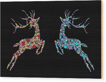 Reindeer Design By Snowflakes Wood Print by Setsiri Silapasuwanchai