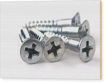 Silver Screws Wood Print by Blink Images