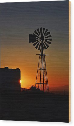 Wood Print featuring the photograph Water Pump Windmill by Werner Lehmann