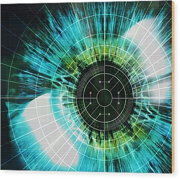 Biometric Eye Scan Wood Print by Pasieka