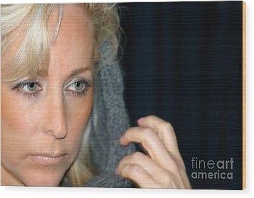 Blond Woman Wood Print by Henrik Lehnerer