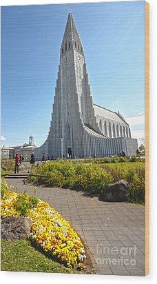 Hallgrimskirkja Church - Reykjavik Iceland  Wood Print by Gregory Dyer