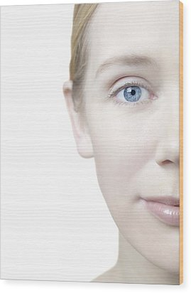 Healthy Woman's Face Wood Print by