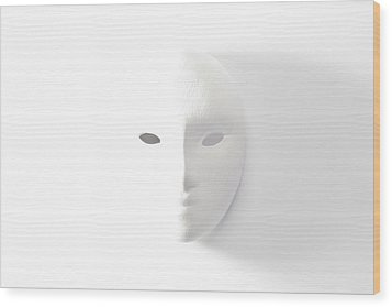Plaster Mask In Studio Wood Print by Kantapong Phatichowwat