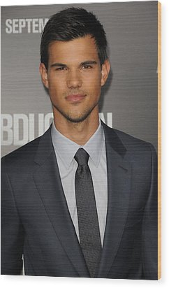 Taylor Lautner At Arrivals Wood Print by Everett