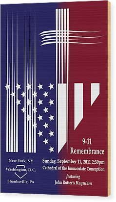 Wood Print featuring the digital art 9-11 Rememberance by Jane Bucci
