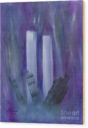 Wood Print featuring the painting 9-11 Remembering by Judy Filarecki