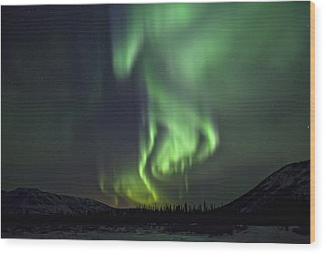 Aurora Borealis Or Northern Lights Wood Print by Robert Postma