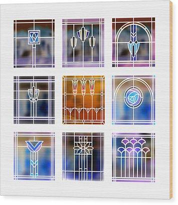 9 Bungalow Windows 2 Wood Print
