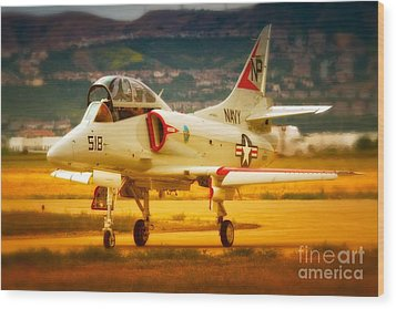 A-4 Skyhawk Up For A Hunt Wood Print by Gus McCrea
