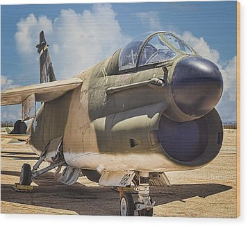 Wood Print featuring the photograph A-7 Corsair II by Steve Benefiel