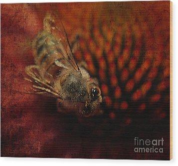 a Bee Wood Print by Billie-Jo Miller