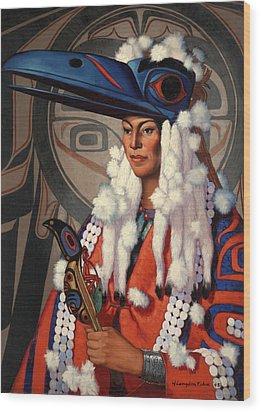 A Bellacoola Woman Wears A Raven Wood Print by W. Langdon Kihn