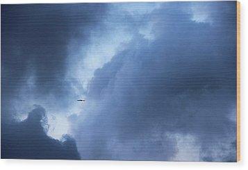 A Bird Flying In Cloudy Sky Wood Print by Gal Ashkenazi