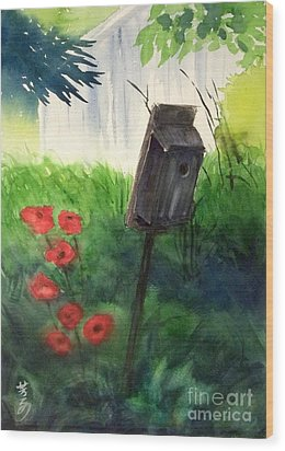 Wood Print featuring the painting A Bird House In The Geddes Farm --ann Arbor Michigan by Yoshiko Mishina