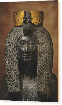 A Black Grantie Statue Of Isis Wood Print by Kenneth Garrett