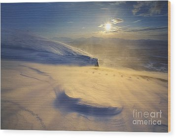 A Blizzard On Toviktinden Mountain Wood Print by Arild Heitmann