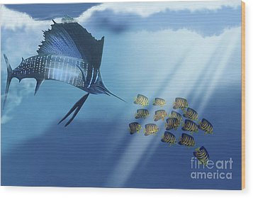 A Blue Marlin Swims After A School Wood Print by Corey Ford
