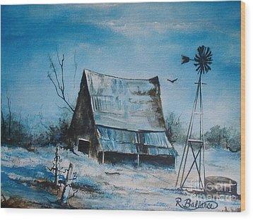 A Blue Winter In Texas Wood Print by Robert Ballance