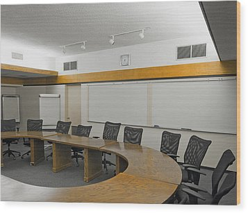 A Boardroom With An Oval Table Wood Print by Marlene Ford