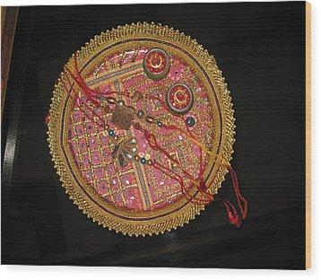A Bowl Of Rakhis In A Decorated Dish Wood Print by Ashish Agarwal