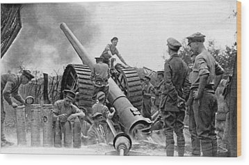 A British Heavy Gun In Action, British Wood Print by Everett