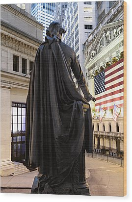 A Bronze Statue Of George Washington Wood Print by Justin Guariglia