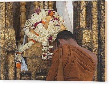 A Budhist Devotee Wood Print by Mukesh Srivastava