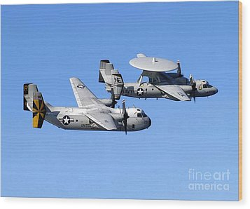A C-2a Greyhound And A E-2c Hawkeye Wood Print by Stocktrek Images