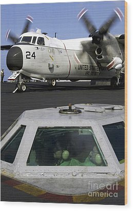 A C-2a Greyhound Prepares For Launch Wood Print by Stocktrek Images