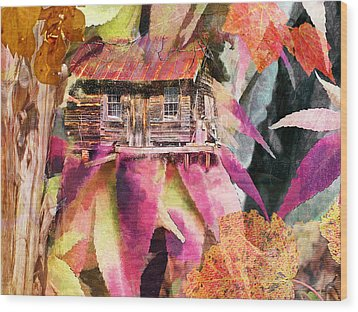 A Cabin In The Woods - A Novel Wood Print by Larry Bishop