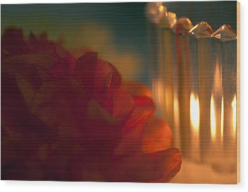 A Candle Glows Wood Print