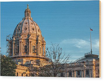 Wood Print featuring the photograph A Capitol Evening by Tom Gort