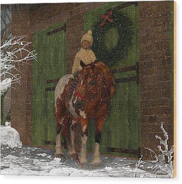 A Christmas Pony Wood Print by Heather Douglas